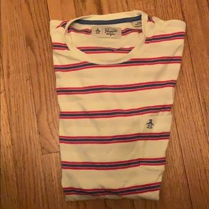 Red and blue stripes on white tee